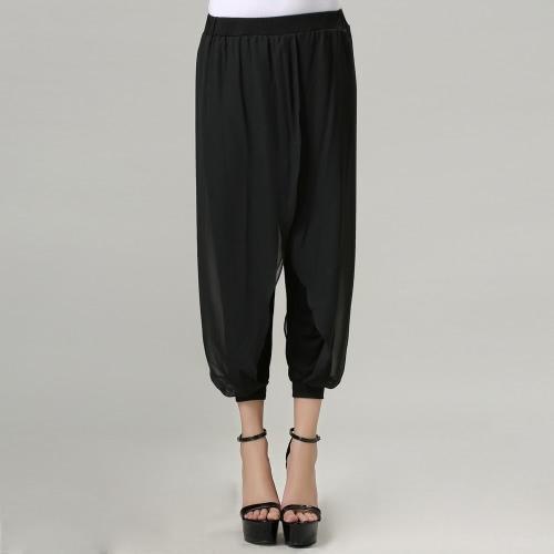 Mode Frauen Casual Hosen Chiffon Overlay elastische Taille Stretch Manschette Capri Hose Pants Black