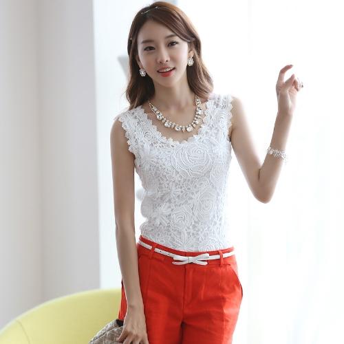 Nueva moda mujer chaleco encaje Floral Crochet redondo cuello tapa del tanque sin mangas túnica blusa blanca