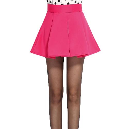 Nueva moda mujer falda plisada cintura acampanados vestido Skater Mini vestido rosa