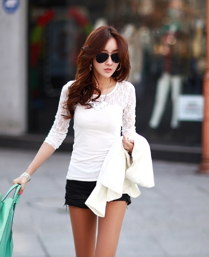 Camisetas  de Moda  Stretch Floral del Cordón del Remiendo de Cuello Redondo de Manga Larga  Negro / Blanco