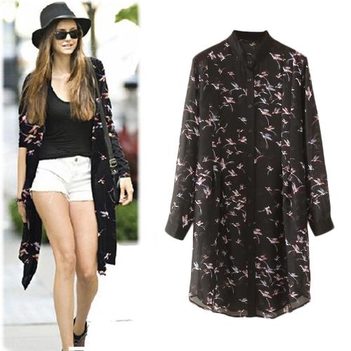 Fashion Women Chiffon Long Blouse Bird Pattern Print Buttoned Front Stand Collar Long Sleeve Semi Sheer Cardigan Shirt Black