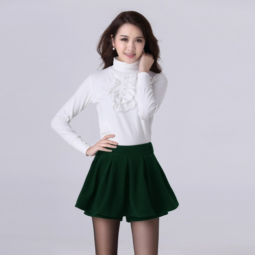 Nowe Moda damska Szorty Spodnie w pasie plisowane Nakładka Solid Color Pantskirt czarny / czerwony / zielony