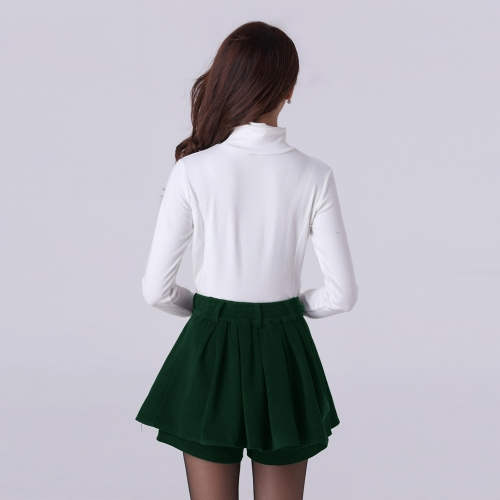 New Fashion Women Shorts Pants Elastic Waist Pleated Overlay Solid Color Pantskirt Black/Red/Green