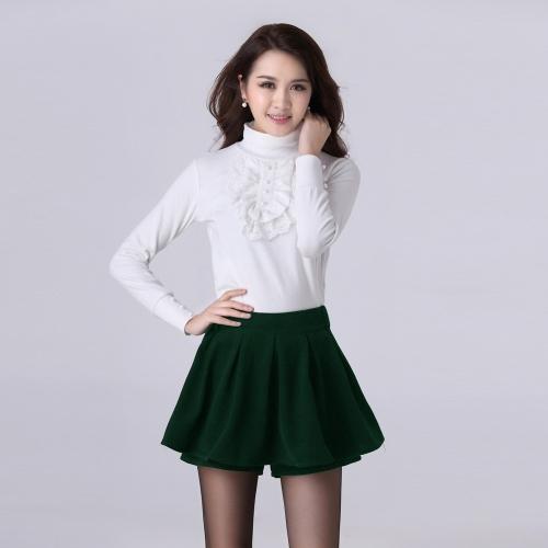 Nueva moda mujeres Shorts pantalones elásticos de la cintura plisado Overlay Color sólido Pantskirt negro/rojo/verde