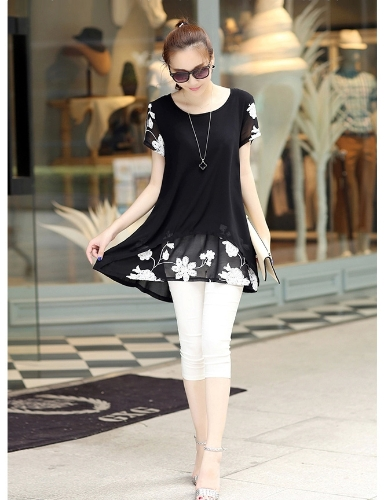 Nueva moda las mujeres blusa de Gasa bordado O cuello manga corta suelta ajuste Tops Casual blanco/negro