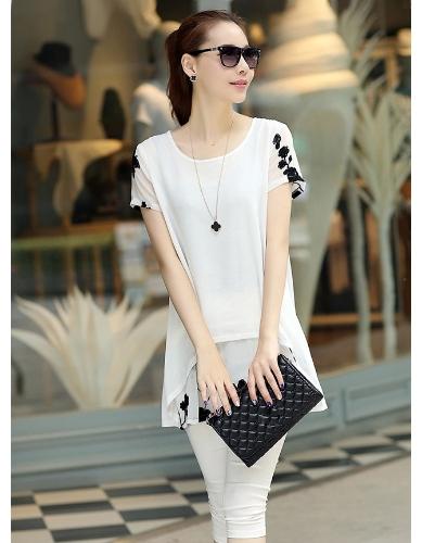Nova moda mulheres blusa Chiffon bordado O-garganta manga curta solta cabe no máximo Casual branco/preto