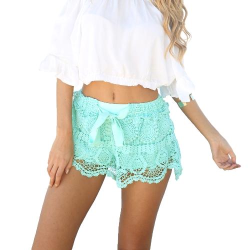 Europe Fashion Women Shorts Crochet Lace Hollow Out Bow Elastic Waist Sexy Beach Short Pants White/Green