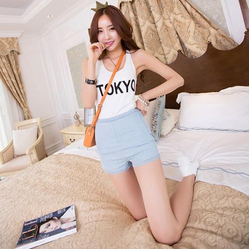 Moda mujer verano cortocircuitos del dril de algodón pantalones vaqueros de cintura alta lado cremallera delgada caliente