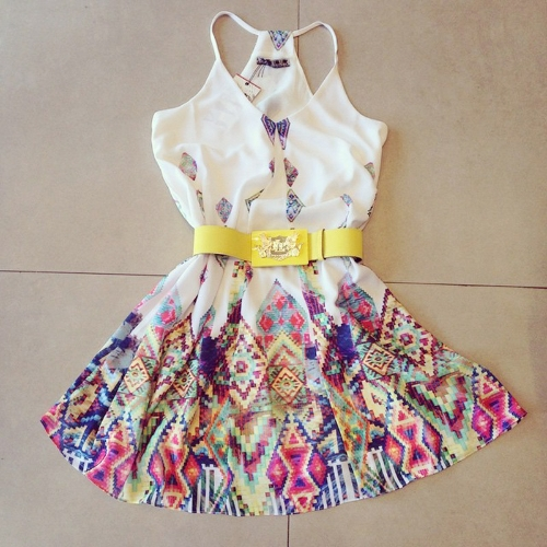 New Sexy Women Mini Dress Vintage Print Spaghetti Strap V Neck Sleeveless Beach Party Dress White