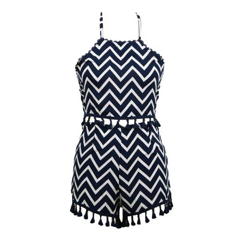 Nuevo Sexy mujer raya conjunto dos piezas halter sin respaldo borla cultivo Top cortos playa traje azul oscuro