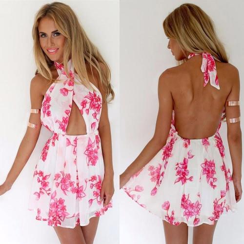 Las mujeres de moda Sexy Vestido estampado Floral Cruz vestido sin espalda cintura elástica Mini vestido rosa