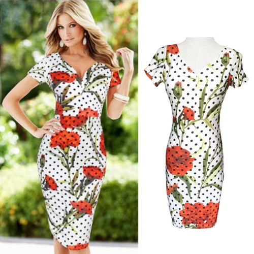 Vintage Polka Dot Floral Print Short Sleeve Midi Dress for Women