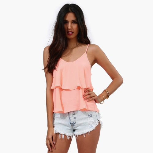 Moda mujer verano chaleco gasa espaguetis correa volante Tank Top camiseta