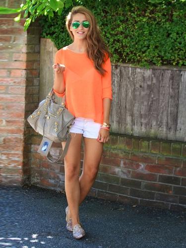 Moda mujeres blusa de Gasa partido vuelta redonda cuello manga larga camiseta suelta sin respaldo superior negro/naranja
