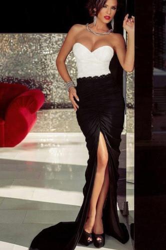 Donne sexy sera abito Bandeau Top pizzo vita volant Split pavimento lunghezza Cocktail Party Dress Maxi un pezzo nero