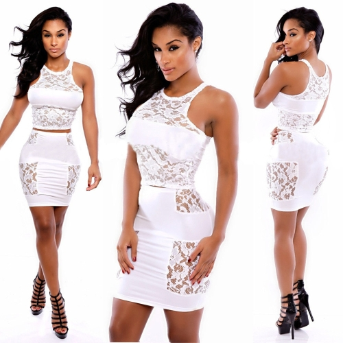 New Sexy Women Two-Piece Set Lace Patchwork Crew Neck Sleeveless Crop Top Pencil Skirt Bodycon Dress White