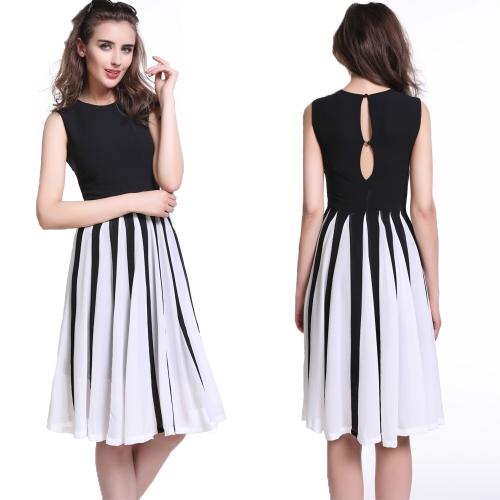 Mujeres de moda gasa ronda cuello botones sin mangas vestido espalda delgada tanque partido vestido negro