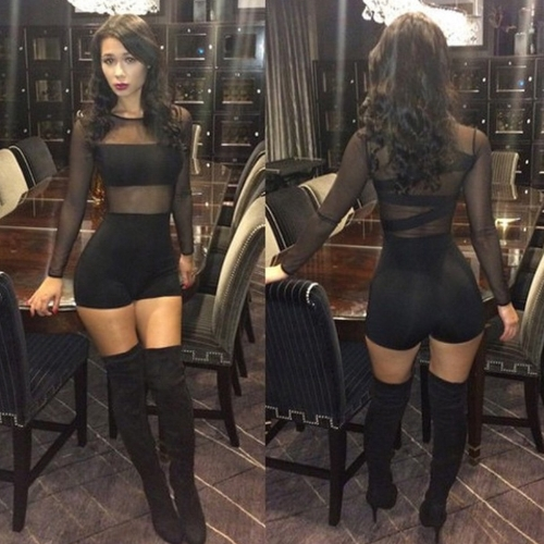 New Sexy Women Jumpsuit Mesh Lace Crew Neck Long Sleeve Bodycon Short Rompers Bodysuit Outfits Black