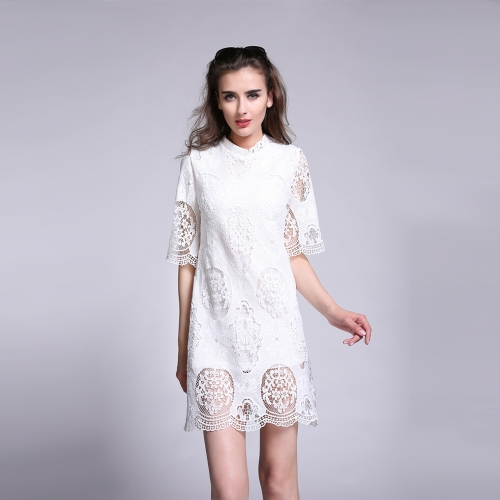 Hollow Nowy mody Kobiety dresss Crochet Lace solidną konstrukcję Out połowie rękaw Elegancka Jednoczęściowy Biała