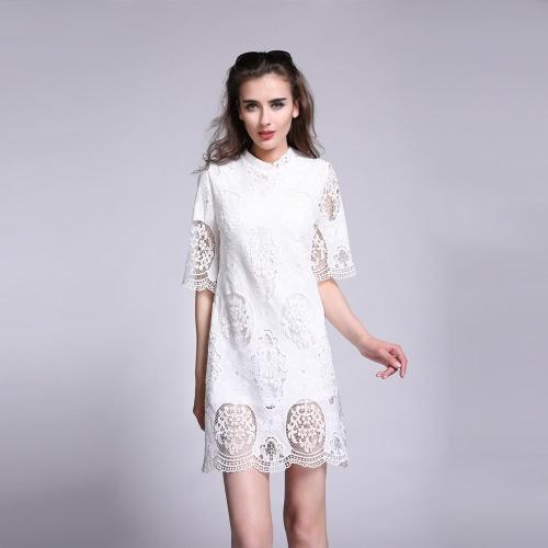 Nueva moda mujeres Dresss Crochet encaje diseño sólido hueco a mitad de la manga una pieza elegante de blanco
