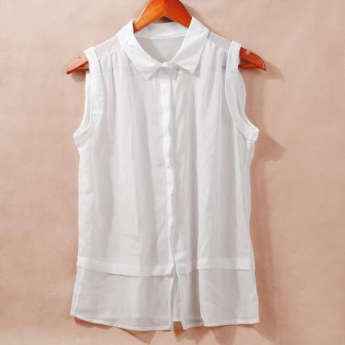 Moda mujeres semi pura gasa blusa descubierta Collar botón camiseta sin mangas Top blanco/azul