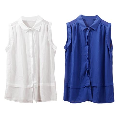TOMTOP / Moda mulheres semi Sheer blusa Chiffon gola virada para baixo botão camiseta sem mangas Top branco/azul