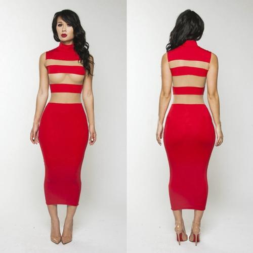 Sexy Frauen kleiden schiere Mesh Stripes Stand Kragen ärmelloses Kleid in Mitte der Wade Bodycon Party Abendkleid rot