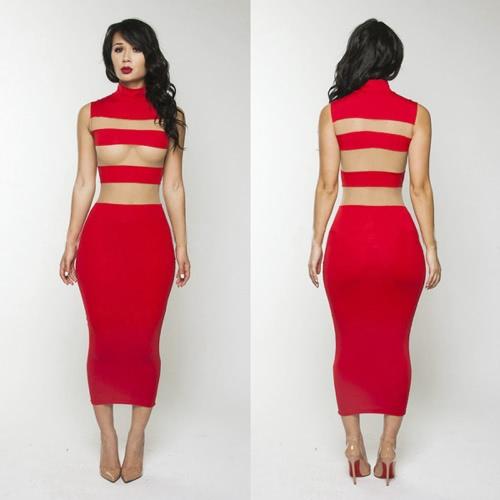 Mujeres sexy vestido escarpado del acoplamiento rayas Stand Collar vestido media pierna sin mangas fiesta Bodycon Vestido de noche rojo