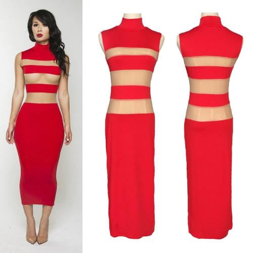 Сексуальные женщины платье Sheer сетки полосы стенд воротник середины икры платье без рукавов Bodycon партии вечернее платье красного фото