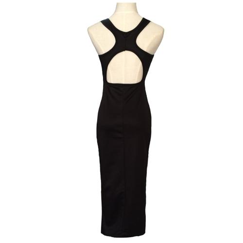 Сексуальные женщины платье талии вырезами крест обратно до середины голени платье Bodycon партии вечернее платье черного/Роуз фото