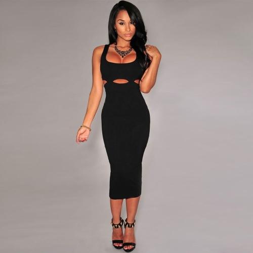 Sexy Women Dress Cutouts Waist Cross Back Sleeveless Mid-calf Dress Bodycon Party Evening Dress Black/Rose