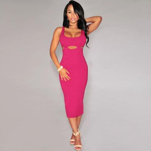 Mujeres sexy vestido de cintura cortes Cruz vestido media pierna hacia atrás sin mangas fiesta Bodycon Vestido de noche negro/rosa