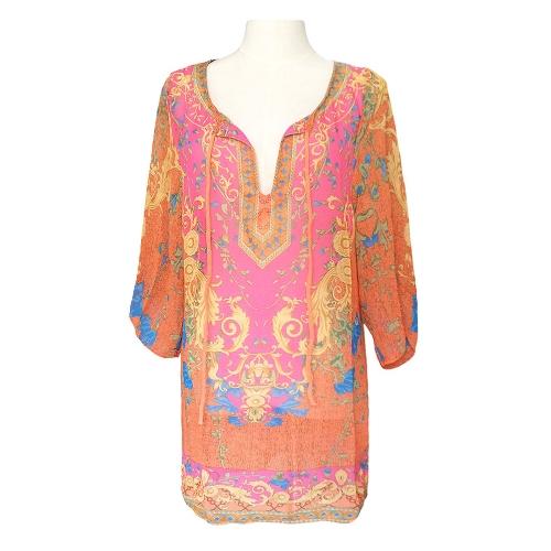 Vintage Women Dress Baroque Floral Print V Neck Bohemian Shift Dress Loose Casual Beach Dress Blue/Rose