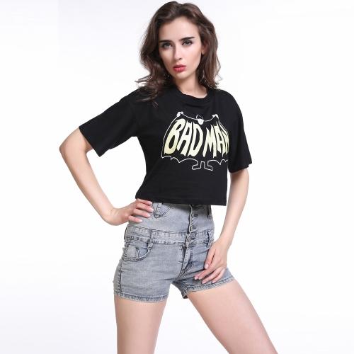 Moda mulheres t-shirt verão letra impressão rodada decote manga curta Casual Crop Top preto