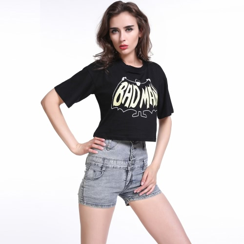 Moda mujer verano camiseta carta impresión redondo escote manga corta cosecha Casual negro