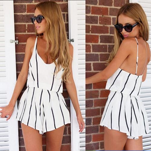 Nueva moda mujer rayas gasa mono Scoop Cuello espaguetis correa Boho ropa de playa Pelele blanco