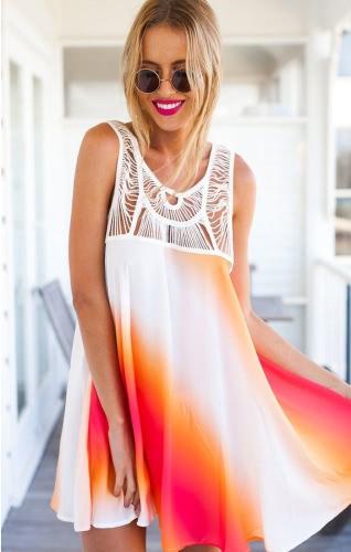 Nueva moda mujer vestido de Gasa