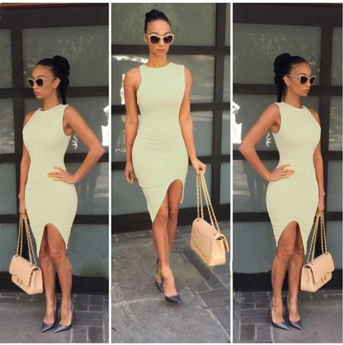 Nueva moda mujer vestido sólido diseño dobladillo asimétrico O cuello sin mangas Sexy una pieza