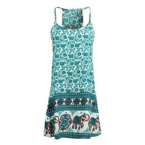 Nueva Sexy mujer el sol Vestido de elefante Floral impresión espaguetis correa playa Swing sin mangas Mini
