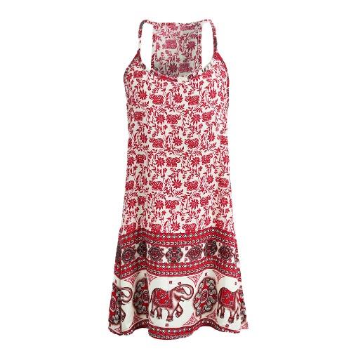 Nuevo Sexy mujer el sol Vestido de elefante Floral impresión espaguetis correa playa Swing sin mangas Mini