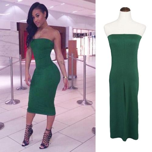 New Sexy Women Bodycon Dress Slash Neck Off Shoulder Solid Color Nightclub Party Dress Green