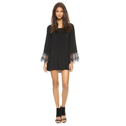 Moda mujeres vestido Crochet encaje Patchwork V profundo correa volver atar atrás vestido negro