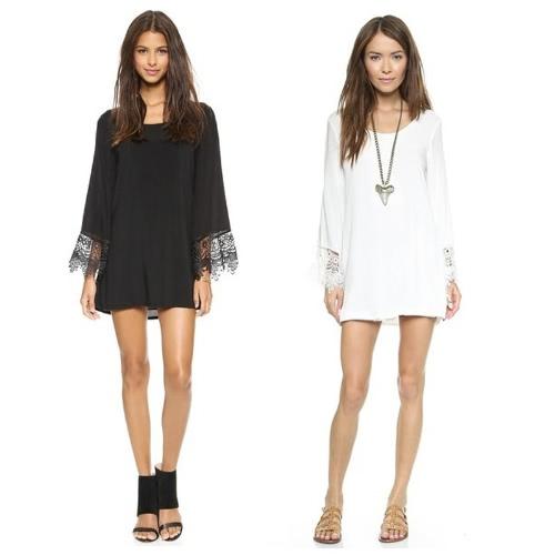Fashion Women Dress Crochet Lace Patchwork Deep V Back Self-tie Strap Reverse Dress Black/White