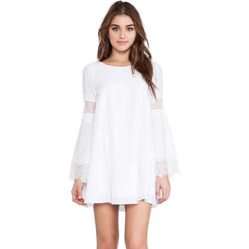 Fashion Women Dress Crew Neck Lace Patchwork Long Sleeves Solid Lining Dress White
