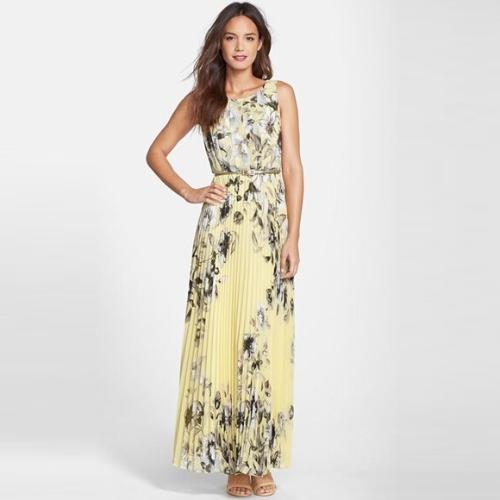 Moda mujer verano gasa vestido Floral impresión sin mangas repliega cremallera vestido largo Maxi amarillo/verde