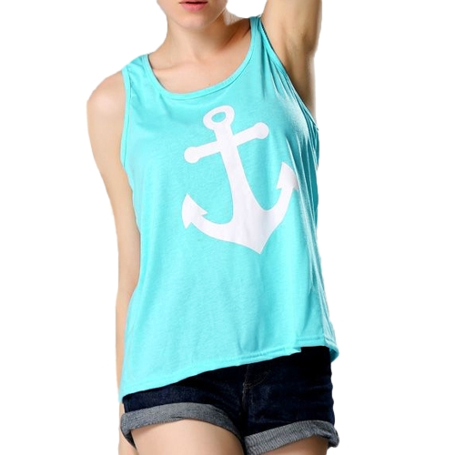 New Fashion Women Anchor Tank Top Back Bowknot Sleeveless Casual Vest Top Camisole T-Shirt