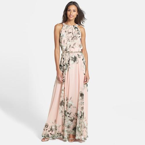 Mujeres sexy vestido de gasa cuello redondo impresión Floral sin mangas fiesta playa Boho largo vestido Maxi vestido de verano rosa