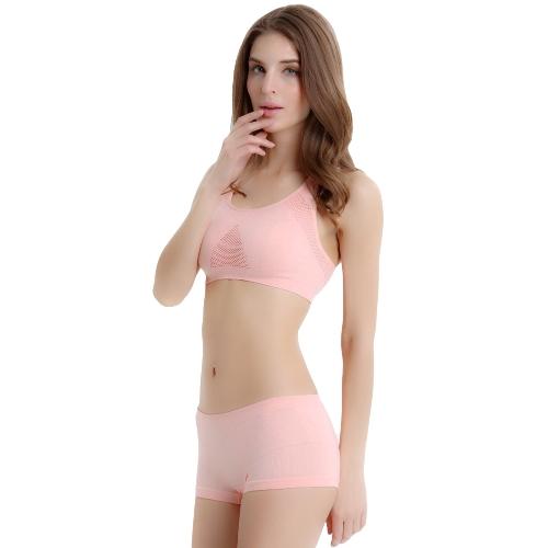 New Sexy Women Sports Bra Mesh Seamless Push Up Padded Stretch Running Bra Athletic Vest Tank Top