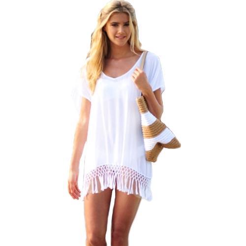 Moda mujeres gasa traje de baño encubrimiento en escote en v manga corta suelta playa vestido traje de baño blanco rosa y azul