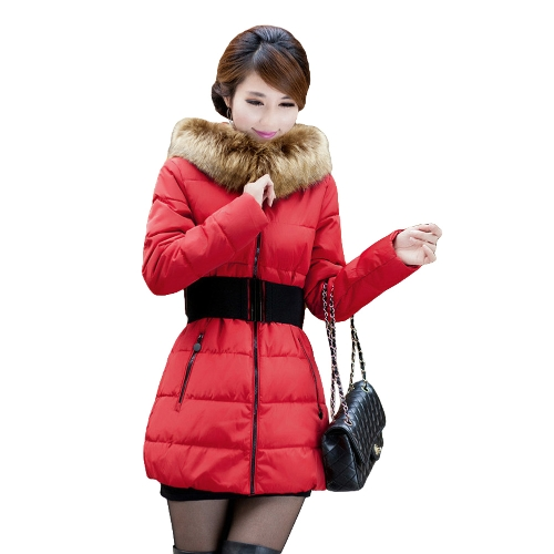 New Fashion Women Wadded Coat Hooded Faux Fur Cotton-Padded Jacket Parka Coat Outerwear